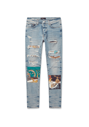AMIRI - Skinny-Fit Panelled Distressed Stretch-Denim Jeans - Men - Blue