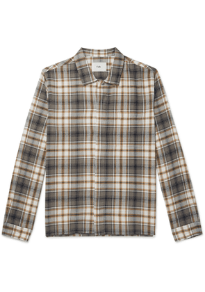 Folk - Checked Cotton-Flannel Shirt - Men - Gray