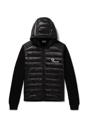 Moncler - Slim-Fit Panelled Waffle-Knit Cotton and Quilted Shell Down Zip-Up Sweater - Men - Black