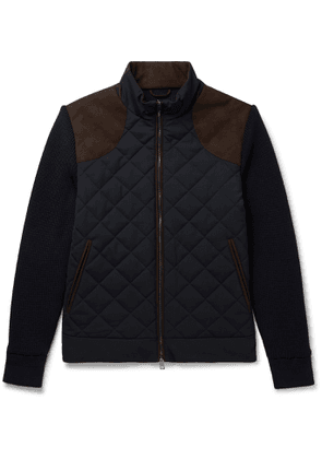 Purdey - Faux Suede-Trimmed Panelled Quilted Virgin Wool-Blend and Shell Jacket - Men - Blue