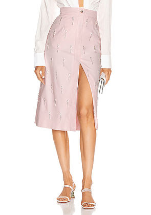 BROGNANO Crystal Embellished Midi Skirt in Pink - Pink. Size 44 (also in ).