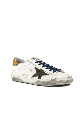 Golden Goose Superstar Leather Upper Suede Star Nabuk Heel in White & Drill Green & Brown - White,Yellow. Size 45 (also in 41,43,44).
