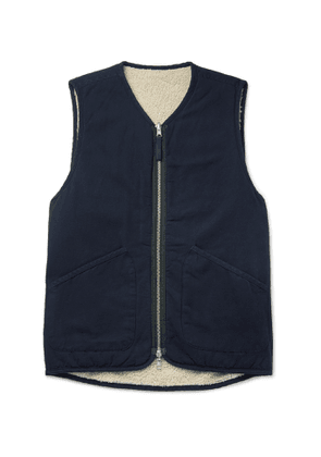Universal Works - Faux Shearling-Lined Cotton Gilet - Men - Blue