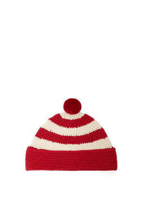 Ami - Striped Hand-crocheted Cotton Beanie - Mens - White Multi