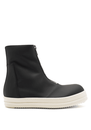 Rick Owens Drkshdw - Zip-front High-top Rubber Trainers - Mens - Black White