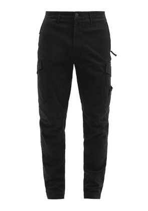Stone Island - Logo-patch Cotton-blend Twill Cargo Trousers - Mens - Black