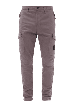 Stone Island - Logo-pocket Cotton-blend Cargo Trousers - Mens - Purple