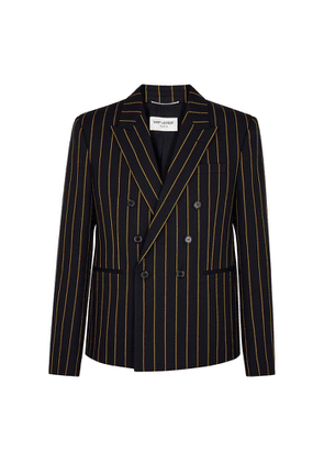 Saint Laurent Navy Striped Double-breasted Wool Blazer