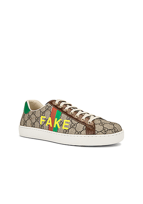 Gucci GG Supreme Sneaker in Beige & Green & Red & Brown - Brown,Abstract. Size 11 (also in 10,9.5,10.5).