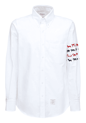 Animal Embroidery Oxford Cotton Shirt