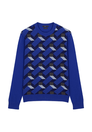 Blue Cashmere Knitted Crewneck Jumper