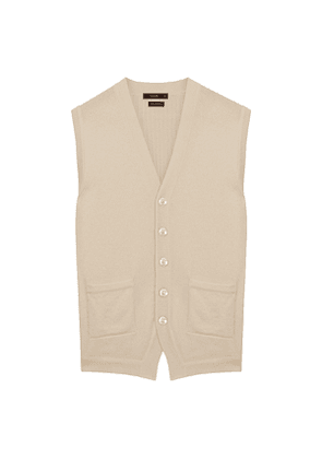 Cream Pure Cashmere Sleeveless Cardigan
