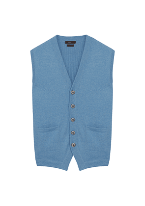 Light Blue Pure Cashmere Sleeveless Cardigan