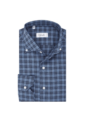Medium Blue Check Cotton Spread Collar Button Down Pique Shirt