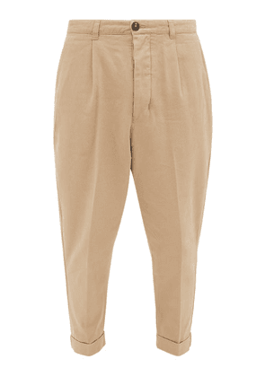 Ami - Tapered-leg Cotton-twill Trousers - Mens - Beige