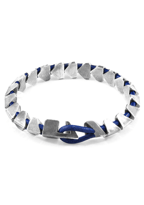 ANCHOR & CREW Azure Blue Brixham Maxi Silver And Round Leather Bracelet