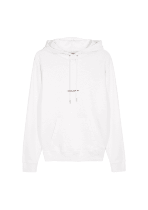 Saint Laurent White Logo Hooded Cotton Sweatshirt