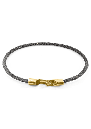 ANCHOR & CREW Shadow Grey Talbot 9ct Yellow Gold And Stingray Leather Bracelet
