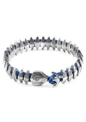 ANCHOR & CREW Royal Blue Delta Anchor Maxi Silver And Braided Leather Bracelet