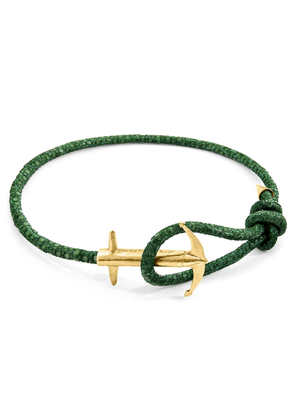 ANCHOR & CREW Racing Green Admiral Anchor 9ct Gold And Stingray Leather Bracelet