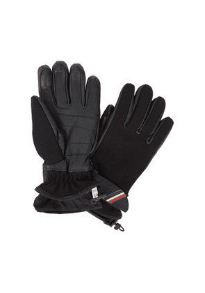 Moncler Technical Black Twill And Leather Gloves