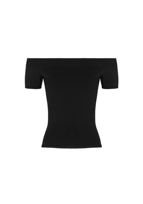 Alexander McQueen Black Off-the-shoulder Stretch-knit Top