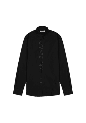 Givenchy Black Logo-embroidered Cotton Shirt