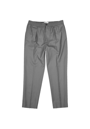 AMI Grey Tapered-leg Twill Trousers