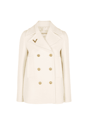 Valentino Ivory Double-breasted Wool Jacket