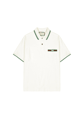 Gucci Off-white Logo-embroidered Cotton Polo Shirt