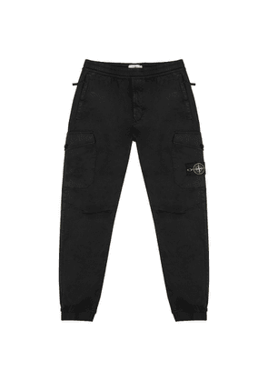 Stone Island Black Cotton-blend Cargo Trousers