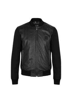Dolce & Gabbana Black Leather And Shell Bomber Jacket