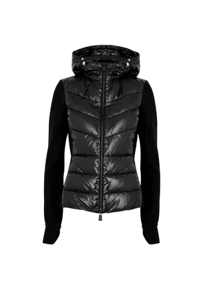 Moncler Black Quilted Shell And Fleece Jacket