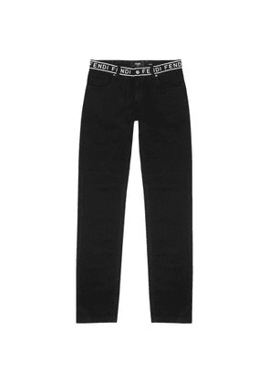 Fendi Black Logo-embroidered Slim-leg Jeans