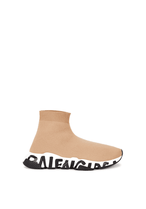 Balenciaga Speed Graffiti Camel Stretch-knit Sneakers