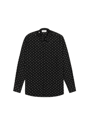 Saint Laurent Black Anchor-print Silk Shirt