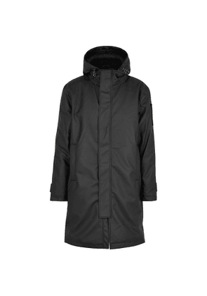 Rains Black Hooded Coated Twill Coat