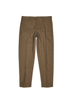 Dries Van Noten Philip Brown Checked Slim-leg Trousers