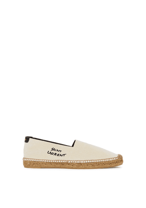 Saint Laurent Ecru Logo Canvas Espadrilles