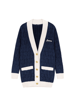Balmain Navy Cable-knit Wool-blend Cardigan