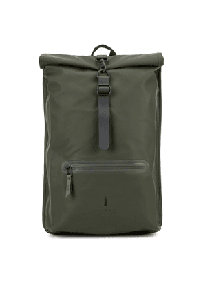 Rains Rolltop Green Water-resistant Rubberised Backpack