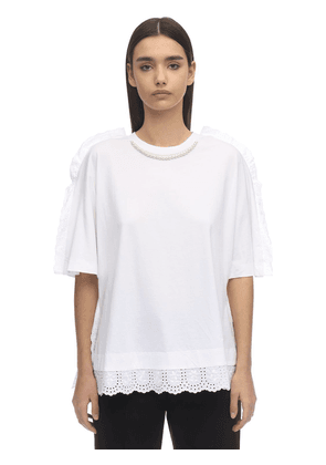Faux Pearl & Lace Cotton Jersey T-shirt
