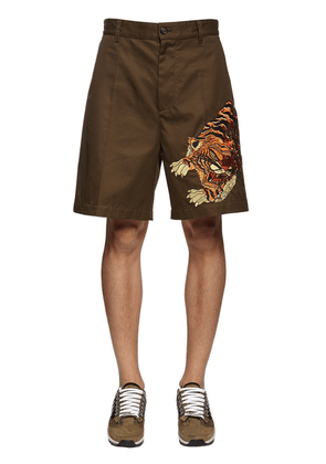 Tiger Embroidery Cotton Twill Shorts