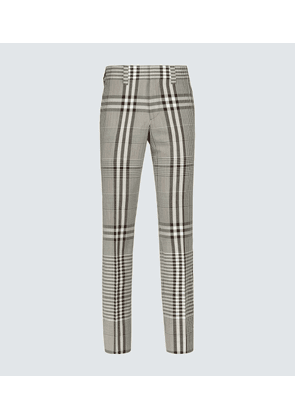 Checked wool-blend pants