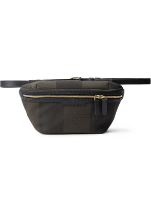 Mismo - Leather-Trimmed Checked Cotton-Canvas Belt Bag - Men - Green