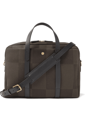 Mismo - Endeavour Leather-Trimmed Checked Canvas-Jacquard Briefcase - Men - Green