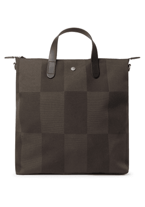 Mismo - Leather-Trimmed Checked Canvas-Jacquard Tote Bag - Men - Green