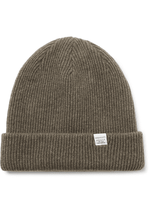 Norse Projects - Logo-Appliquéd Ribbed Wool Beanie - Men - Green