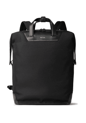 PAUL SMITH - Leather-Trimmed Canvas Backpack - Men - Black