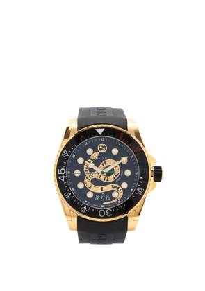 Gucci - Dive Kingsnake-embossed Gold-pvd Watch - Mens - Black Gold